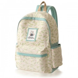 Fresh Cute Bear Floral Lace Canvas School Bag Travel Backpack