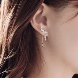 Sweet Angel Wing Pendant Crystal Dangle Drop Silver Earrings Studs