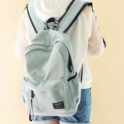 Preppy Style Young Simple Waterproof Pure Color Letters Belts Fresh School Bag Travel Backpack
