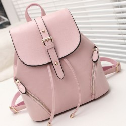 Sweet Pink PU Flap Draw String Zipper Metal Lock Belt Rivets School Backpack