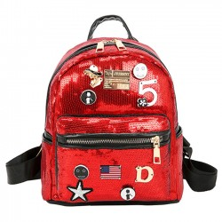 Fashion Women's Mini Sequin Small Badge Digital Star Shiny Student Backpack