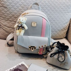 Fresh Contrast Color Backpack Cute Pink Stripe Button School Backpack