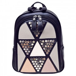 Fashion Girl's School PU Splicing Triangles Sequins Backpack Leisure Rivet Backpack