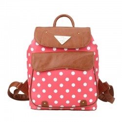 Pretty College Polka Dot PU School Bag Travel Backpack