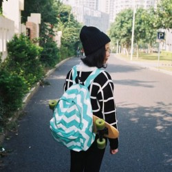 Fresh Mint Green Large Laptop Rucksack Stripe Weave Canvas School Backpack