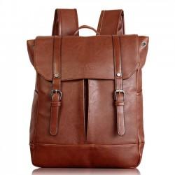 Retro Solid Color Double Buckle Backpack Boy Girl School Bag