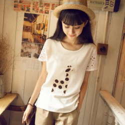 Fresh Lovely Giraffe Patch Hollow Short-sleeved Round-neck Linen T-shirt