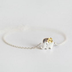 Fresh Yellow Flower Silver Cute Elephant Bracelet