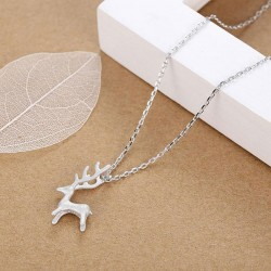 Cute Elk Pendant Necklace Fresh Silver Deer Animal Pendant Necklace
