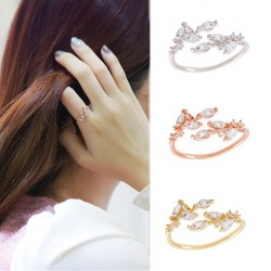 Elegant Leaves Inlay Diamond Glisten Adjustable Opening Ring