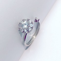 Unique Adjustable Fashion Silver Open Diamond Ring