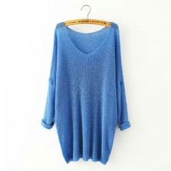 Leisure Solid V-neck Irregular Hem Raglan Dolman Sleeve Long Sweater