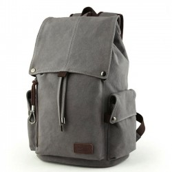 Retro Large Men's Canvas Drawstring Laptop School Rucksack Travel Hiking Backpack