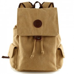 Fashion Men's Retro Canvas Flap Drawstring School Backpack Large Khaki Travel Backpack