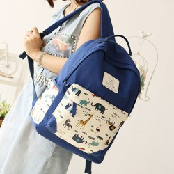 Fresh Animal Canvas Backpack Lion Elephant Giraffe Schoolbag