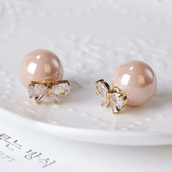 Elegant Diamond-bordered Bow Zircon Pearl Round Dual-purpose Women Earring Studs