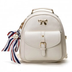 Cute Bow College Multifunction Lady's Bag Front Belt Handbag Metal Lock Shoulder Bag Backpacks