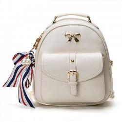 Cute Bow College Multifunction Lady's Bag Front Belt Handbag Metal Lock Shoulder Bag Backpacks