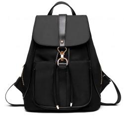 Pure Black Blue Purple School Rucksack Single Button Oxford Travel Backpack