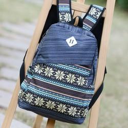 Folk Pattern Print Computer Bag Striped Backpack