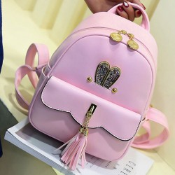 Fashion PU Girls Tassels Rabbit Ear Backpack Leisure Lotus Leaf School Backpack