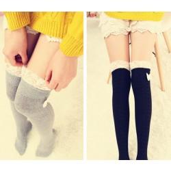 Sweet Bowknot Lace Stitching High Socks/Stockings