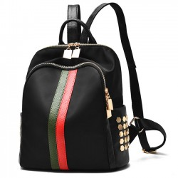 Black Frosted Oxford Cloth Rivet Bag PU Unique Green Red Vertical Stripes School Backpack