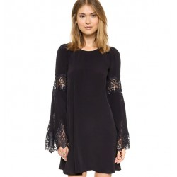 Sweet Scallop Lace Long Flare Sleeve Dress