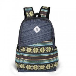 Folk Fresh Geometry Trunk Travel Backpack Satchel School Bag