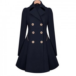 Women's Commuter Trench Double-Breasted Slim Bodycon Wool Jacket Coat