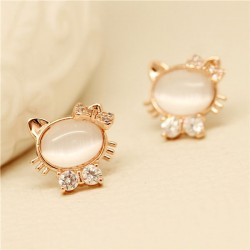 Cute Jewelry Opal Lovely Kitten Diamond Earrings