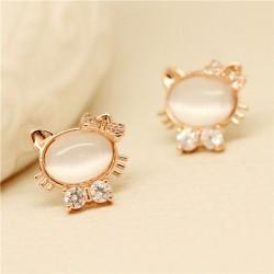 Cute Jewelry Opal Lovely Kitten Diamond Earrings
