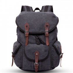 Retro Three Pockets Multi-function Rucksack Outdoor Thick Canvas Large Travel Backpack