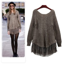 Sequin Knitted Pleated Hem False Two-piece Dress