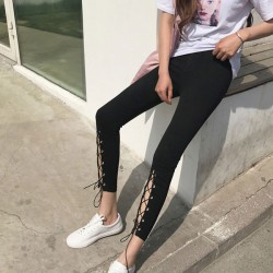 Retro Front Cut Out High Slit Lace-up Ninth Black Chic Girl's Skinny Legging