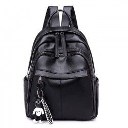 Fashion Waterproof Pure Black PU Nylon School Bag Student Backpack