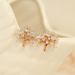 Tree Of Life Hollow Inlay Diamond Fashion Shining Lady Earrings