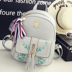 Sweet Leaves Embroidery Tassel Rivets  Flowers Girl's  PU School Backpack