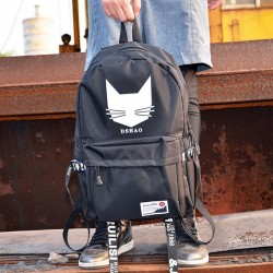 Leisure Black Student Bag Cat Head Men's Travel Backpack