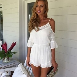 Sexy Lace Deep V-Neck Braces Romper&Jumpsuit
