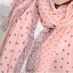 Women Winter Voile Scarf Long Shawl Scarf Dual Dot Scarf