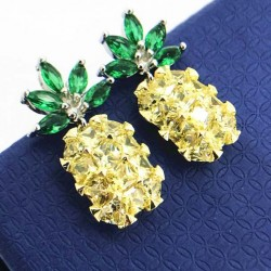 Creative Girl's Vivid Gemstones Pineapple Fruit Silver Earrings Studs