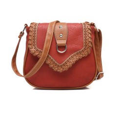 Folk Style Weave Mixed Color Shoulder Bag Ladies Saddle Messenger Bag