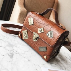 Leisure Grain Metal Badges Flap Women Handbag PU Small Suitcase Crocodile Shoulder Bag