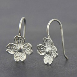 Unique Handmade Silver Flowers Hook Lady's Hook Earrings Studs