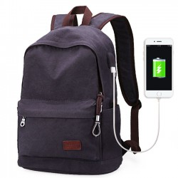 Simple Men's Leisure School Bag USB Interface Large Canvas Travel Backpack