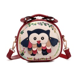 Lolita Sweet Owl Patch Mixed Color Messenger Bag Circular Bag Shoulder Bag