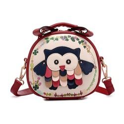 Lolita Sweet Owl Patch Mixed Color Messenger Bag Circular Bag Shoulder Bag