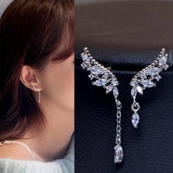 Shining Angel Wings Diamond Asymmetric Tassel Crystal Lady Earrings Studs