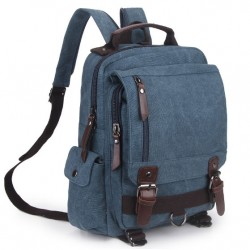 Leisure Multifunctional Shoulder Bag Multi Zippers Square Canvas School Backpack